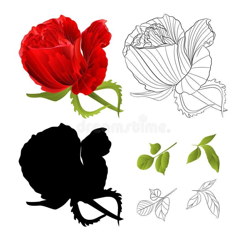 红色玫瑰有自然叶子水彩欢乐的背景和概述和剪影水彩葡萄酒传染媒介编辑可能的illustra 库存例证