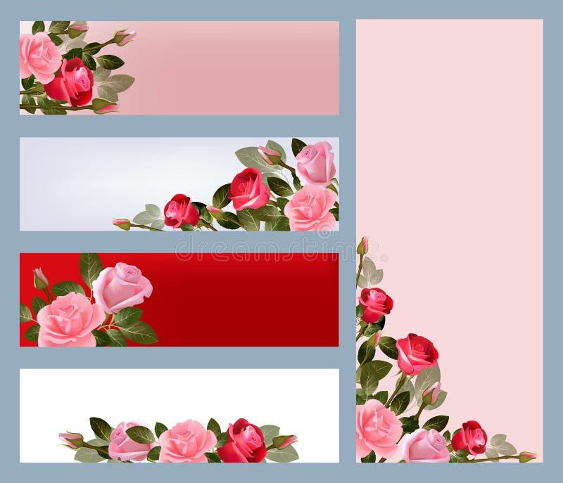 红色玫瑰色横幅 与美丽的花的例证的印刷品模板导航图片 皇族释放例证