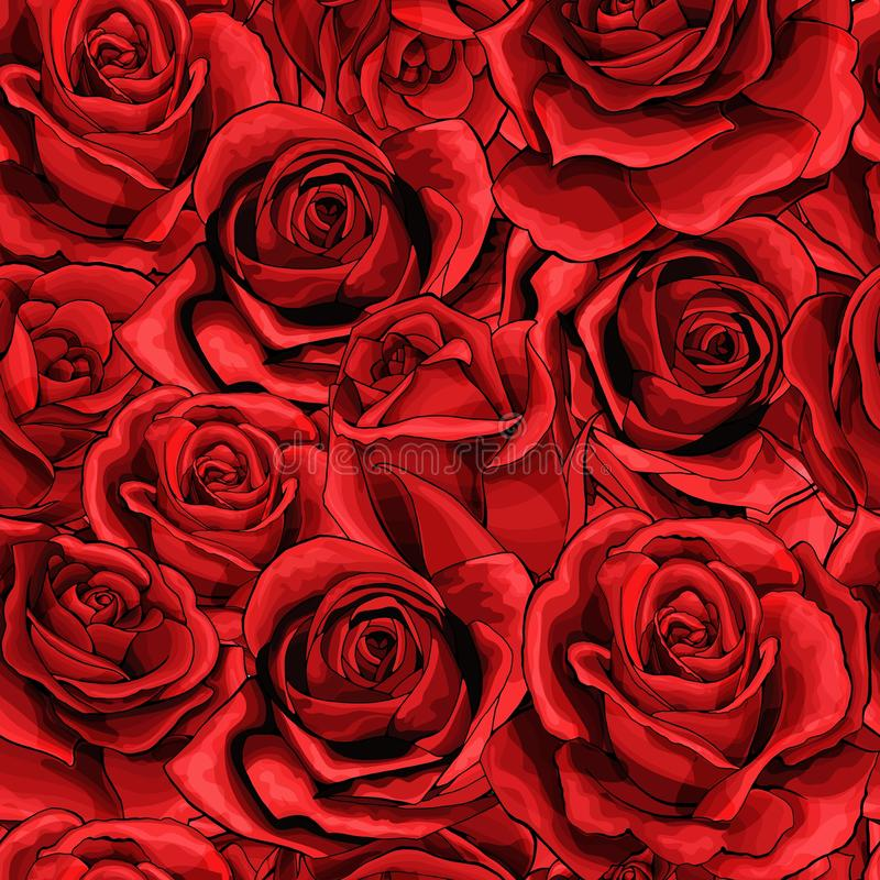 红色玫瑰色花花束元素无缝的样式充分填装了 向量例证