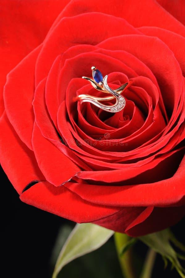 红色环形玫瑰色青玉 免版税库存图片