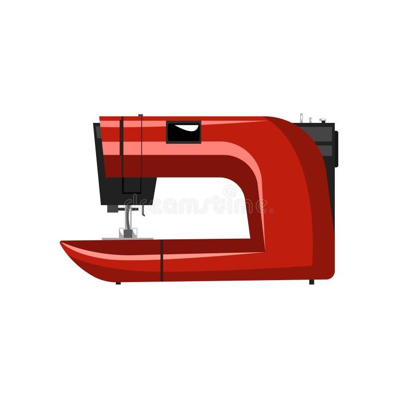 红色现代电子缝纫机,裁缝设备在白色背景的传染媒介例证 皇族释放例证