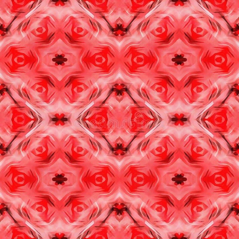 红色现代Ikat部族无缝的样式网 向量例证