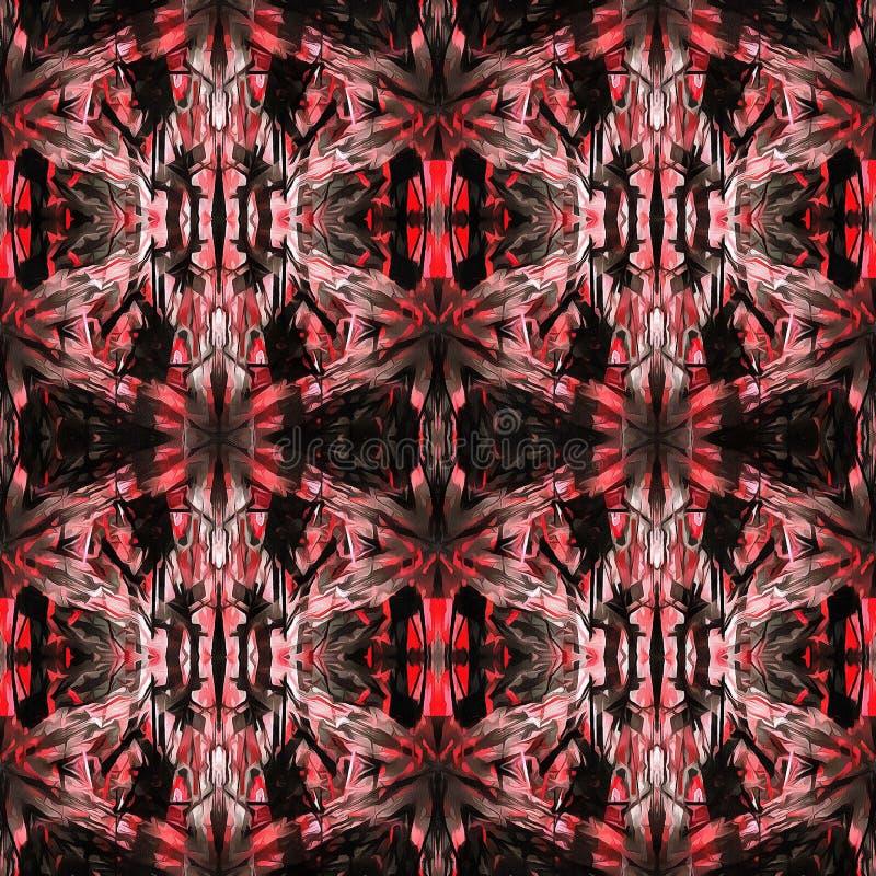 红色现代Ikat部族无缝的样式网 皇族释放例证