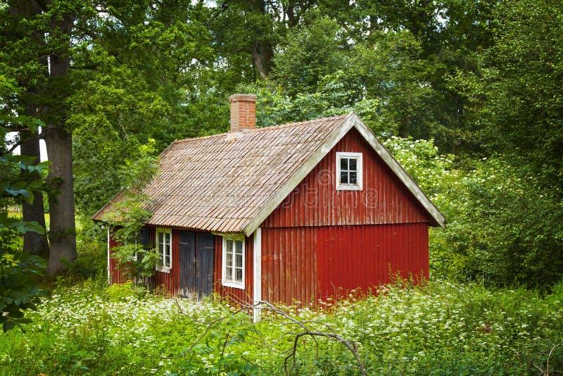 红色瑞典村庄 免版税库存照片