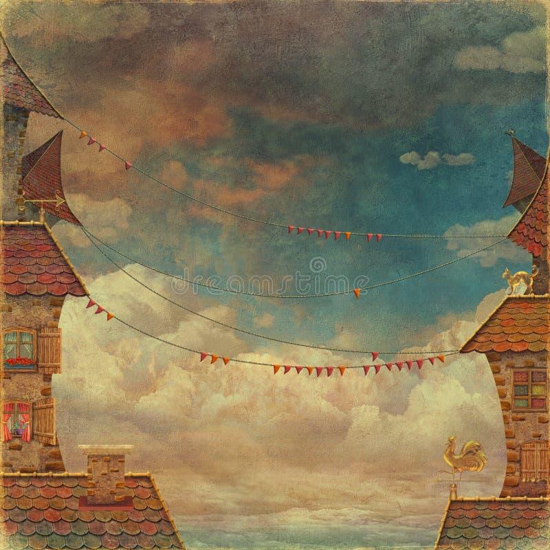 红色瓦和在背景的多云天空视图 皇族释放例证