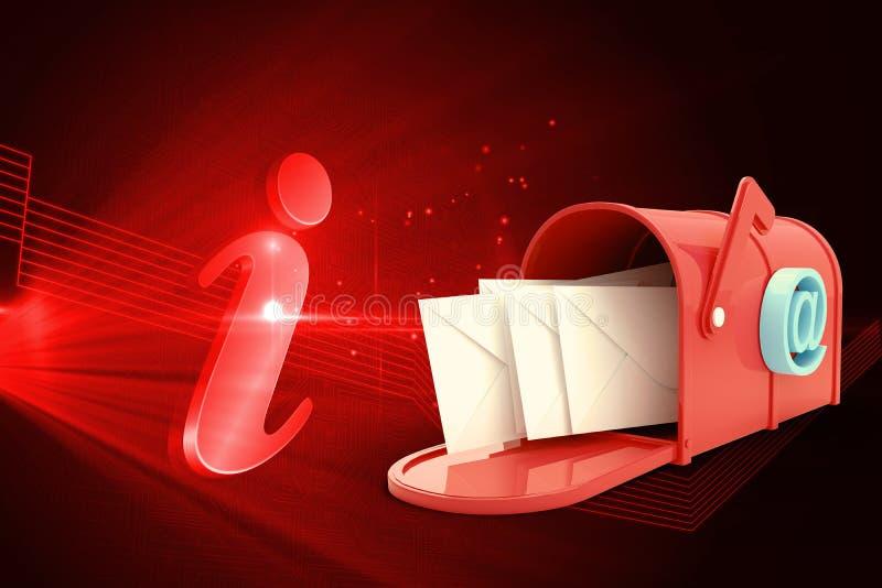 红色电子邮件邮箱的综合图象 库存例证