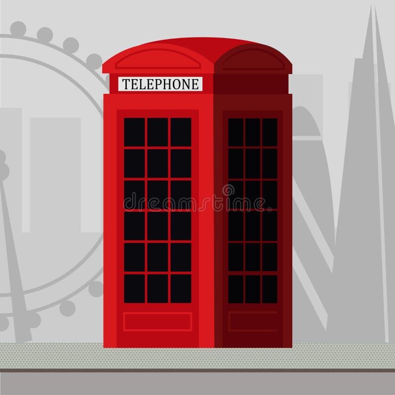 红色电话客舱 库存例证
