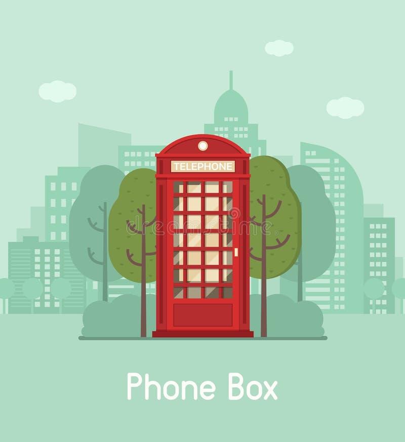 红色电话箱子在现代城市 向量例证
