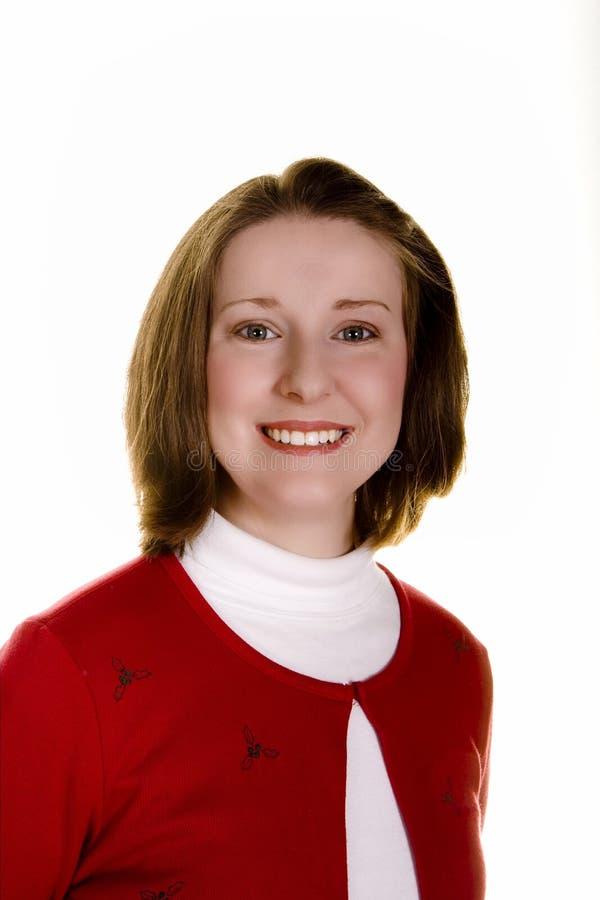 红色白人妇女 免版税库存照片