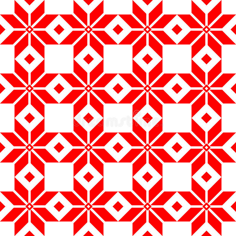 红色白俄罗斯人神圣的种族装饰品,无缝的样式 也corel凹道例证向量 斯洛文尼亚传统样式装饰品 免版税库存照片