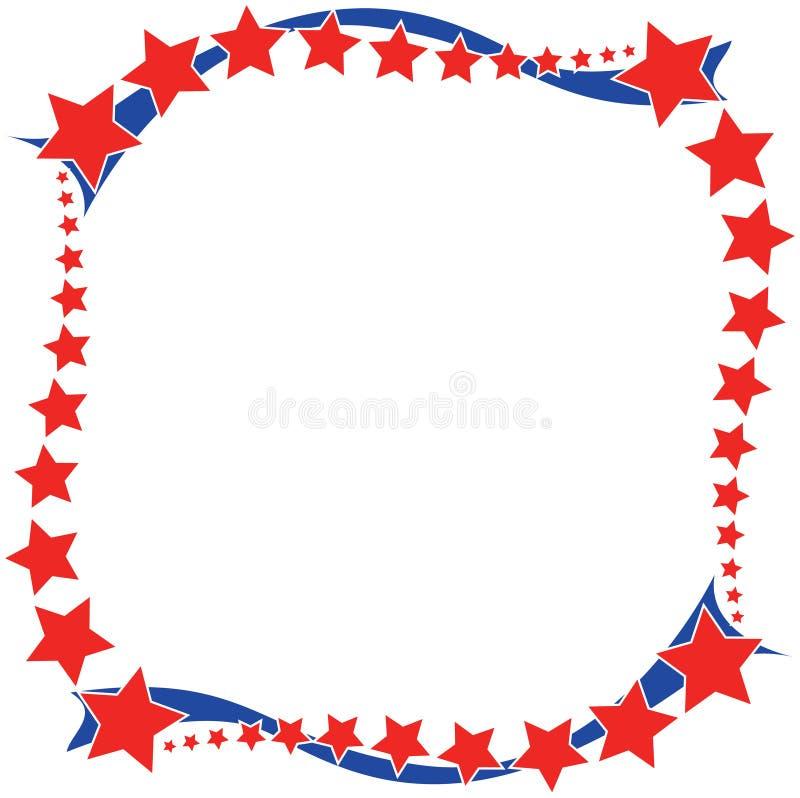 红色白色一个蓝星边界 向量例证