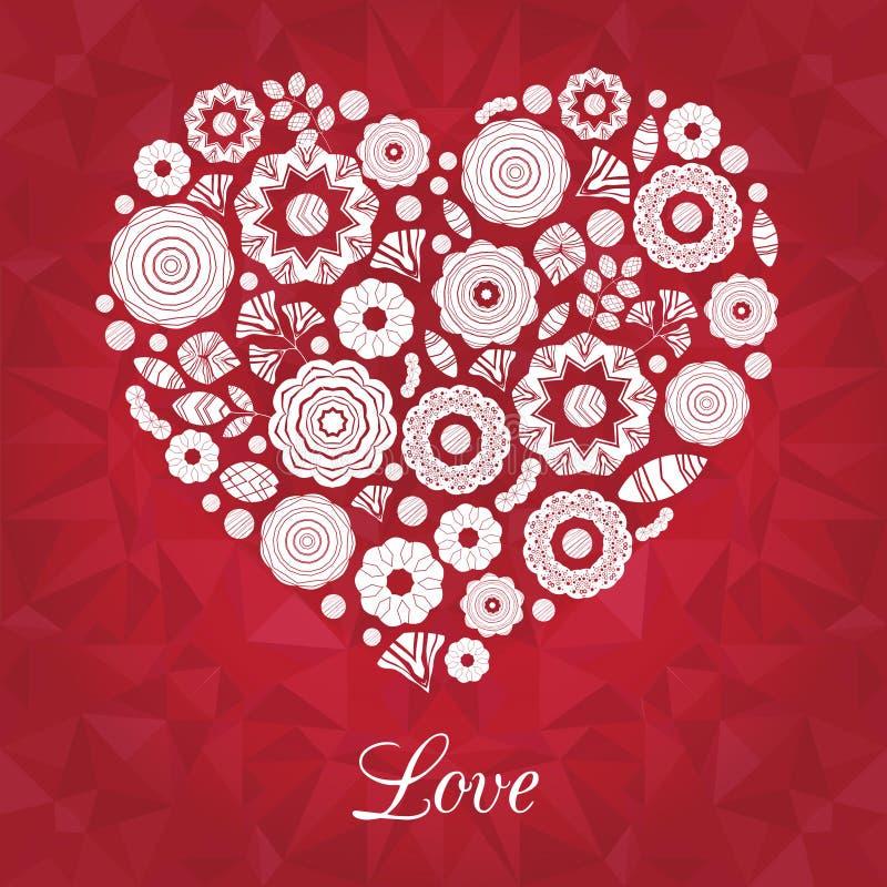红色白色传染媒介花在心脏形状安排了  野花花圈 皇族释放例证