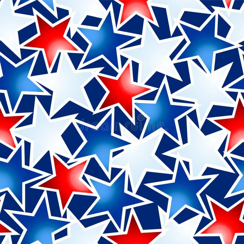 红色白色和蓝色发光的星无缝的样式 库存例证