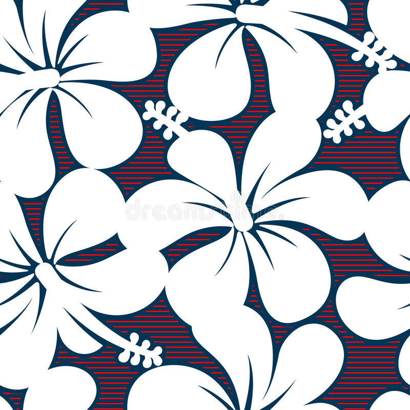 红色白色和蓝色木槿排行无缝的样式 库存例证