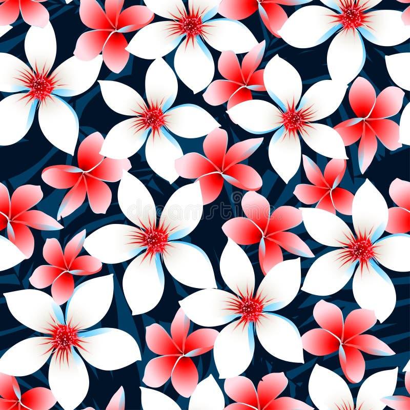 红色白色和蓝色热带花无缝的样式 向量例证
