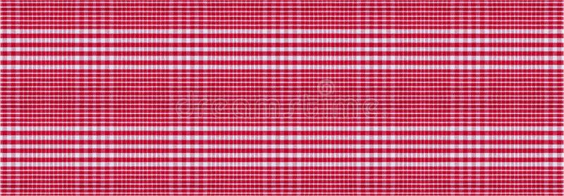 红色白色方格的野餐桌布纹理背景,横幅 库存照片