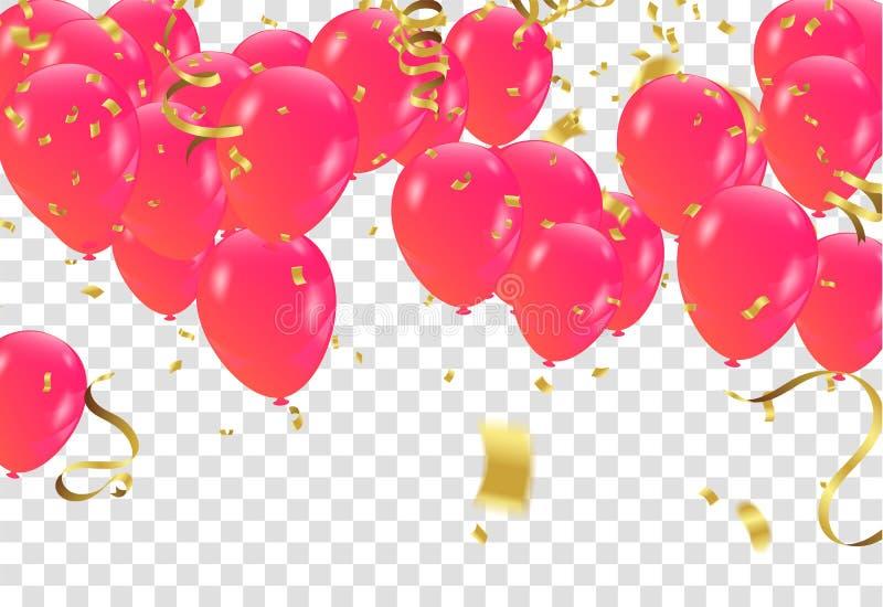 红色白色气球,五彩纸屑在transp的构思设计模板 库存例证