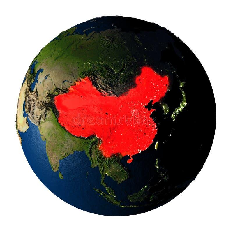红色的中国在白色隔绝的地球上