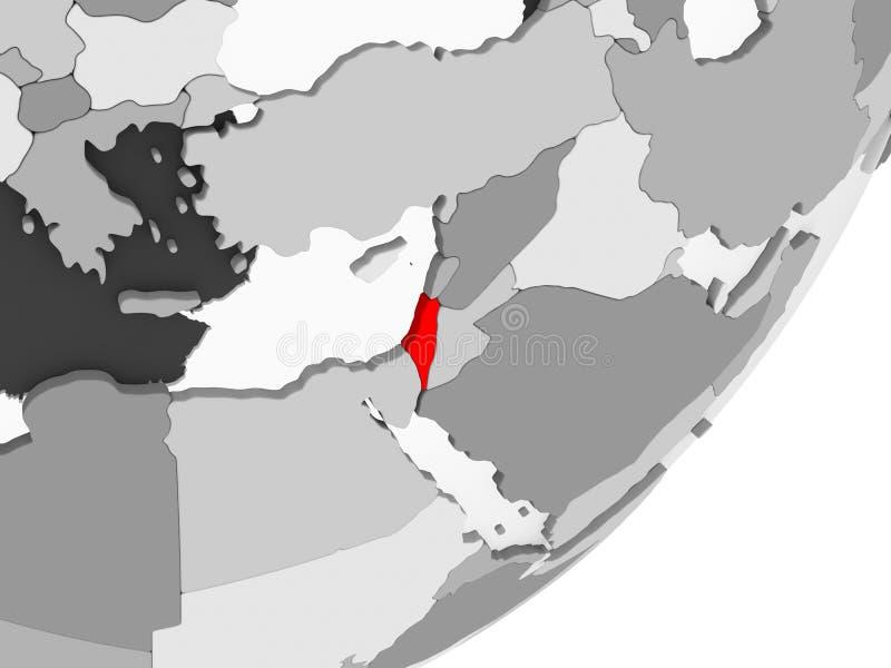 红色的以色列在灰色地图 皇族释放例证