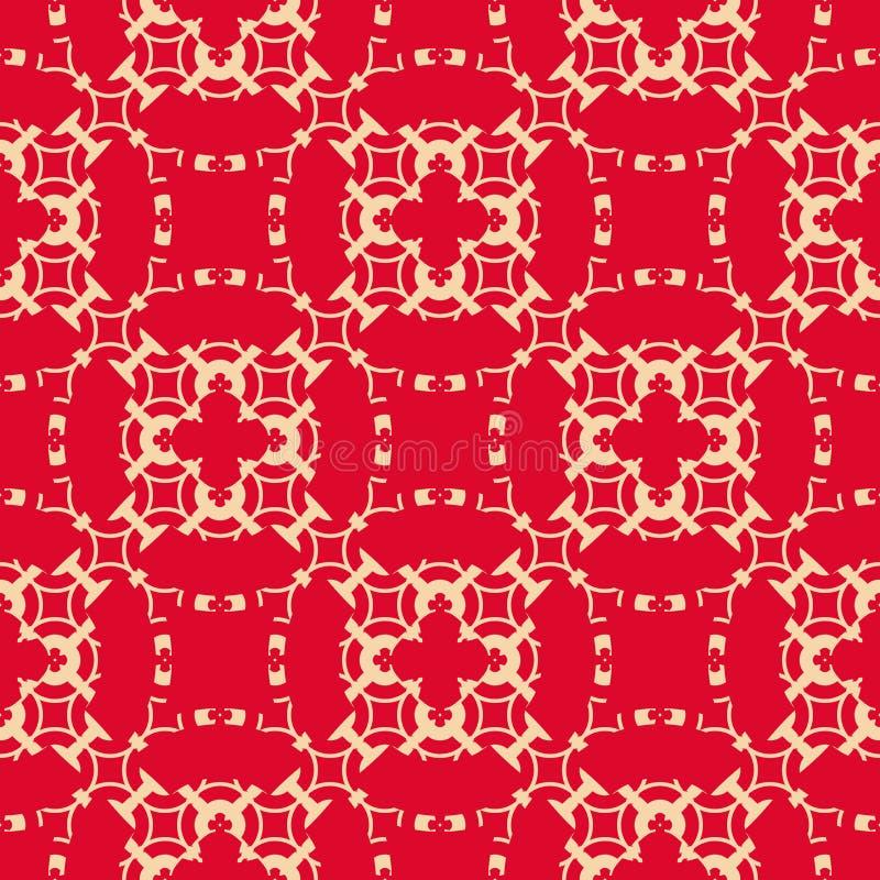 红色的传染媒介和金花卉几何无缝的样式 典雅的皇家装饰品 皇族释放例证