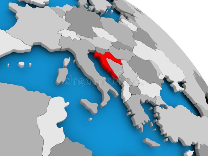 红色的克罗地亚在地图 皇族释放例证