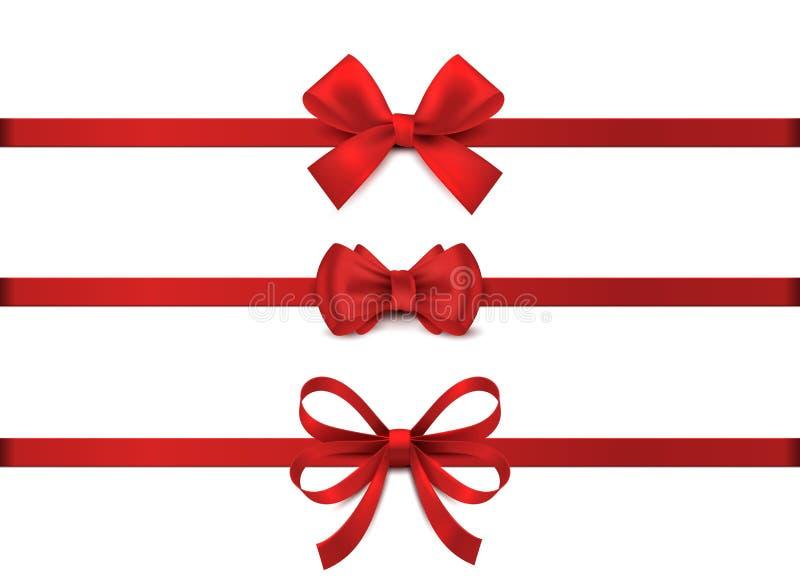 红色的写实弓 水平红色带集合 假日礼品装饰,情人节礼物带结,亮闪闪的促销 库存例证