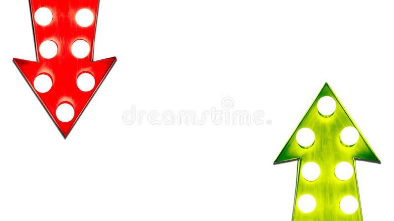红色的利弊和绿色左右在葡萄酒减速火箭的金属箭头下照亮了电灯泡 皇族释放例证