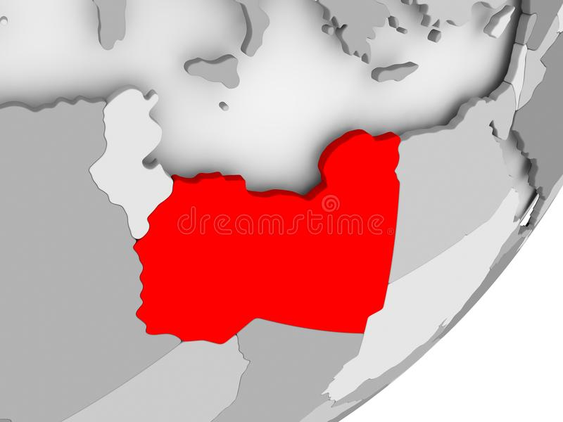 红色的利比亚在灰色地图 皇族释放例证