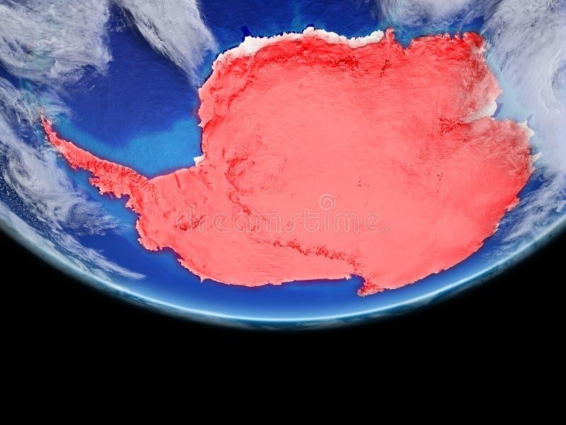 红色的南极洲地球上 皇族释放例证