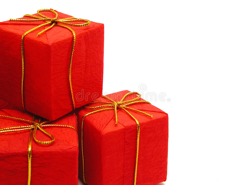 红色的圣诞节礼物 库存照片