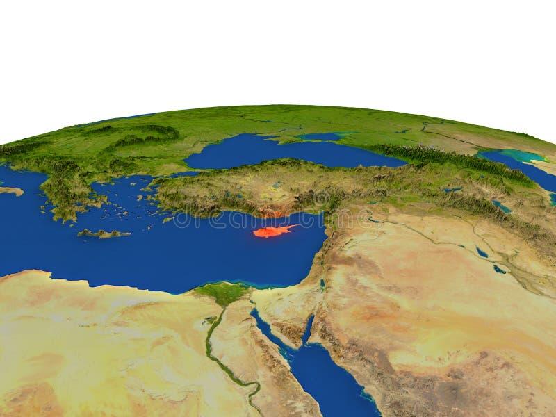 红色的塞浦路斯从轨道 皇族释放例证