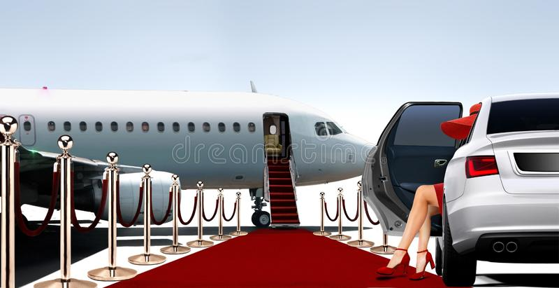 红色的妇女上一个私人飞机的 免版税库存图片