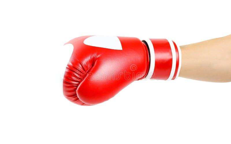 红色的拳击手套 两手套体育 隔绝在一白色backgr 库存照片