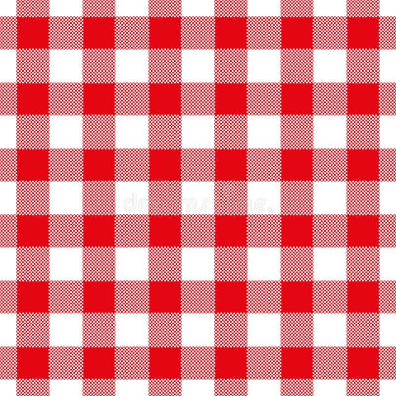 红色的无缝的抽象例证chechkered方格花布桌 皇族释放例证