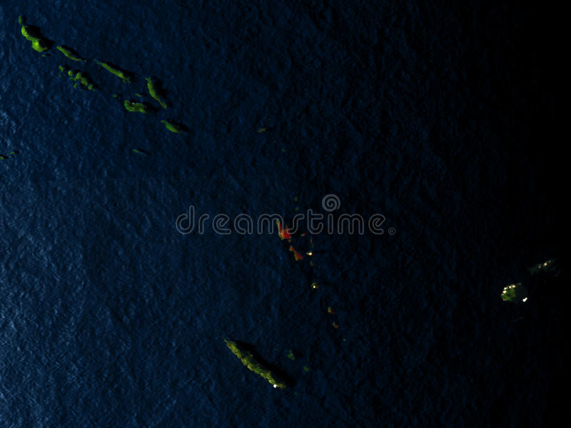 红色的瓦努阿图从空间在晚上 库存例证