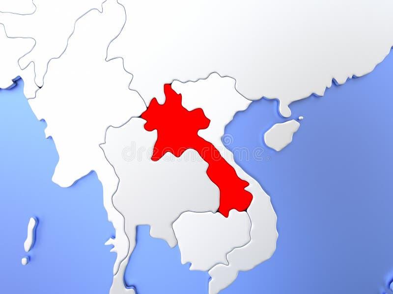 红色的老挝在地图 皇族释放例证