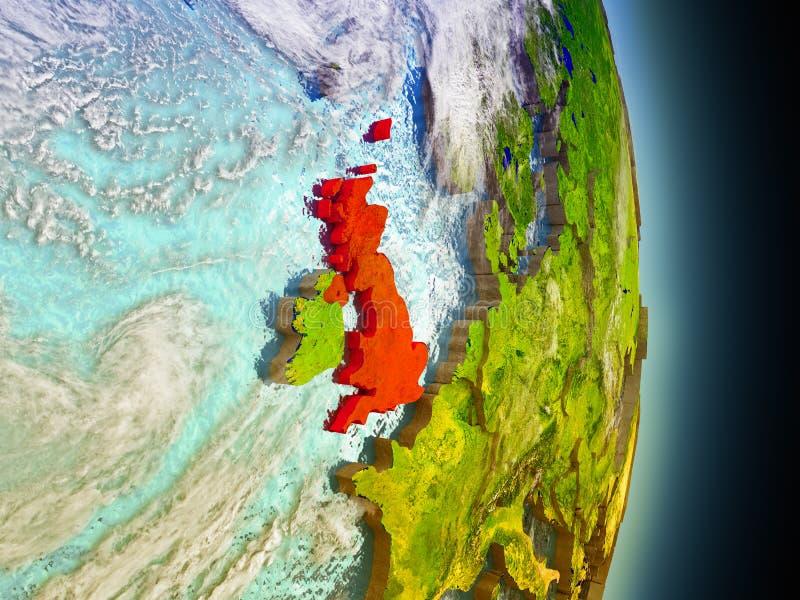 红色的英国从空间 向量例证