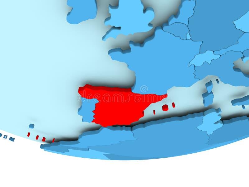 红色的西班牙在蓝色地图 皇族释放例证