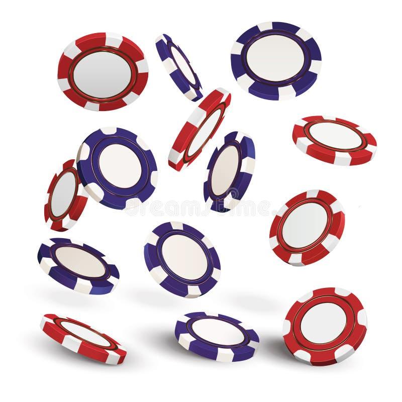 红色的赌博娱乐场和在白色现实3d对象隔绝的蓝色纸牌筹码 网上赌博娱乐场横幅 红色和蓝色realisti 库存例证