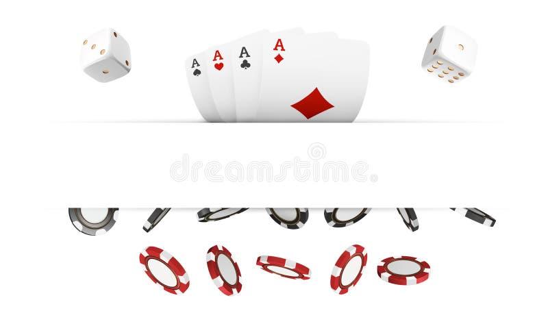 红色的赌博娱乐场和黑在白色现实3d对象隔绝的芯片和卡片 与地方的网上赌博娱乐场横幅tex的 向量例证
