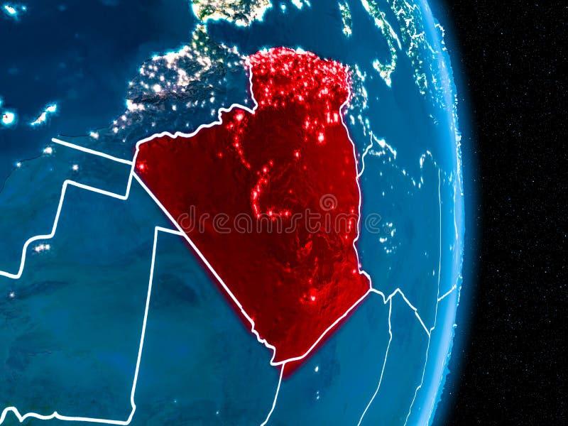 红色的阿尔及利亚在晚上 皇族释放例证