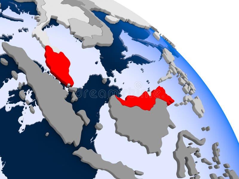 红色的马来西亚在地图 向量例证