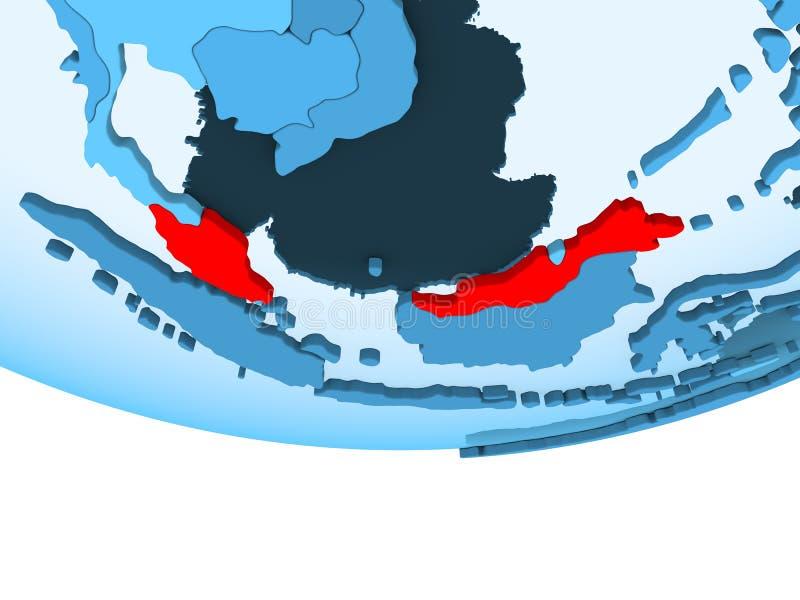 红色的马来西亚在蓝色地图 向量例证