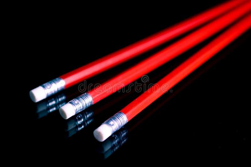 红色的penciles 免版税库存图片