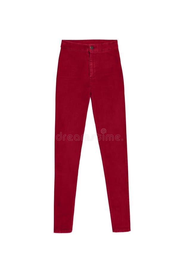 红色皮包骨头的高腰部牛仔裤裤子,隔绝在白色背景 库存图片