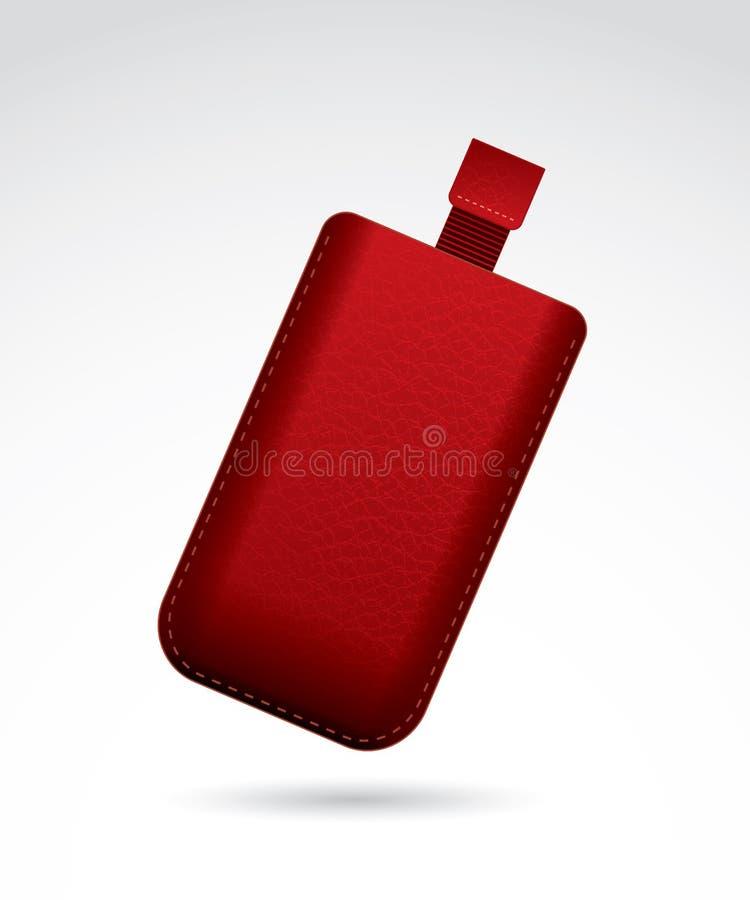 红色皮革手机盒 库存例证