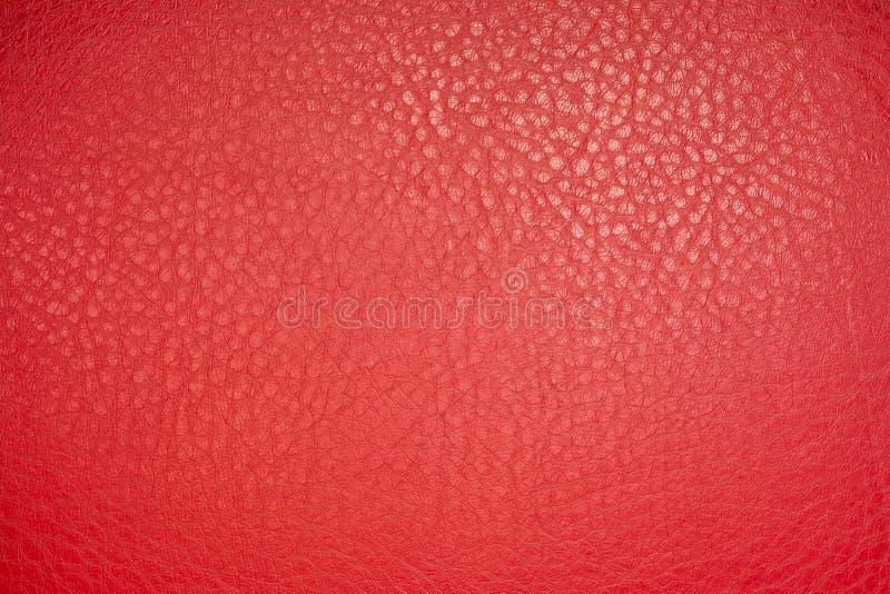红色皮革物质纹理背景 免版税库存图片