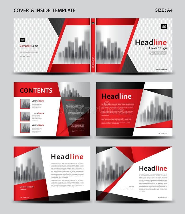 红色盖子设计和里面模板杂志的,广告,介绍,年终报告,书,传单,海报,编目,打印 库存例证