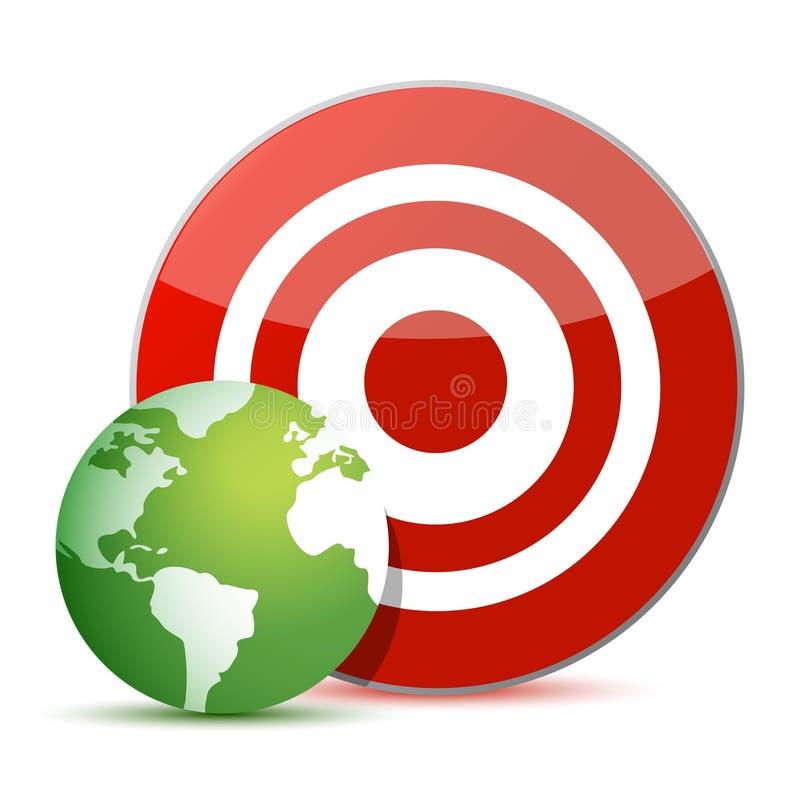 红色目标绿色地球例证设计 皇族释放例证