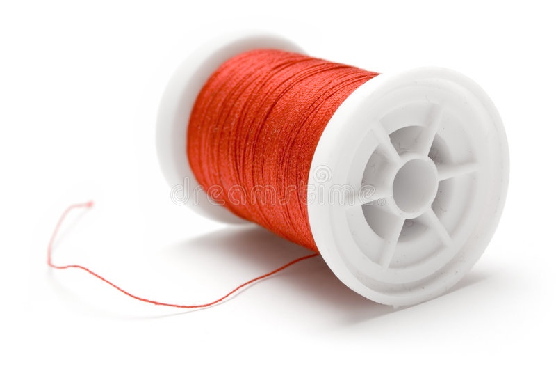 红色短管轴线程数 免版税库存照片